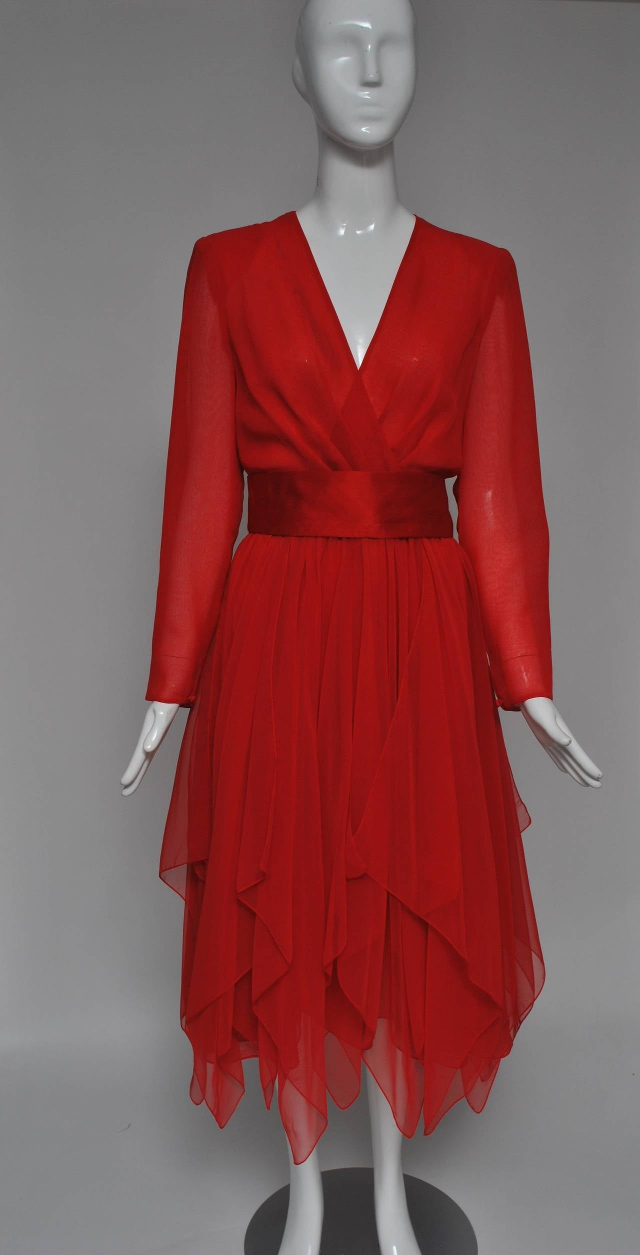 Estevez Red Chiffon Handkerchief Dress For Sale 2
