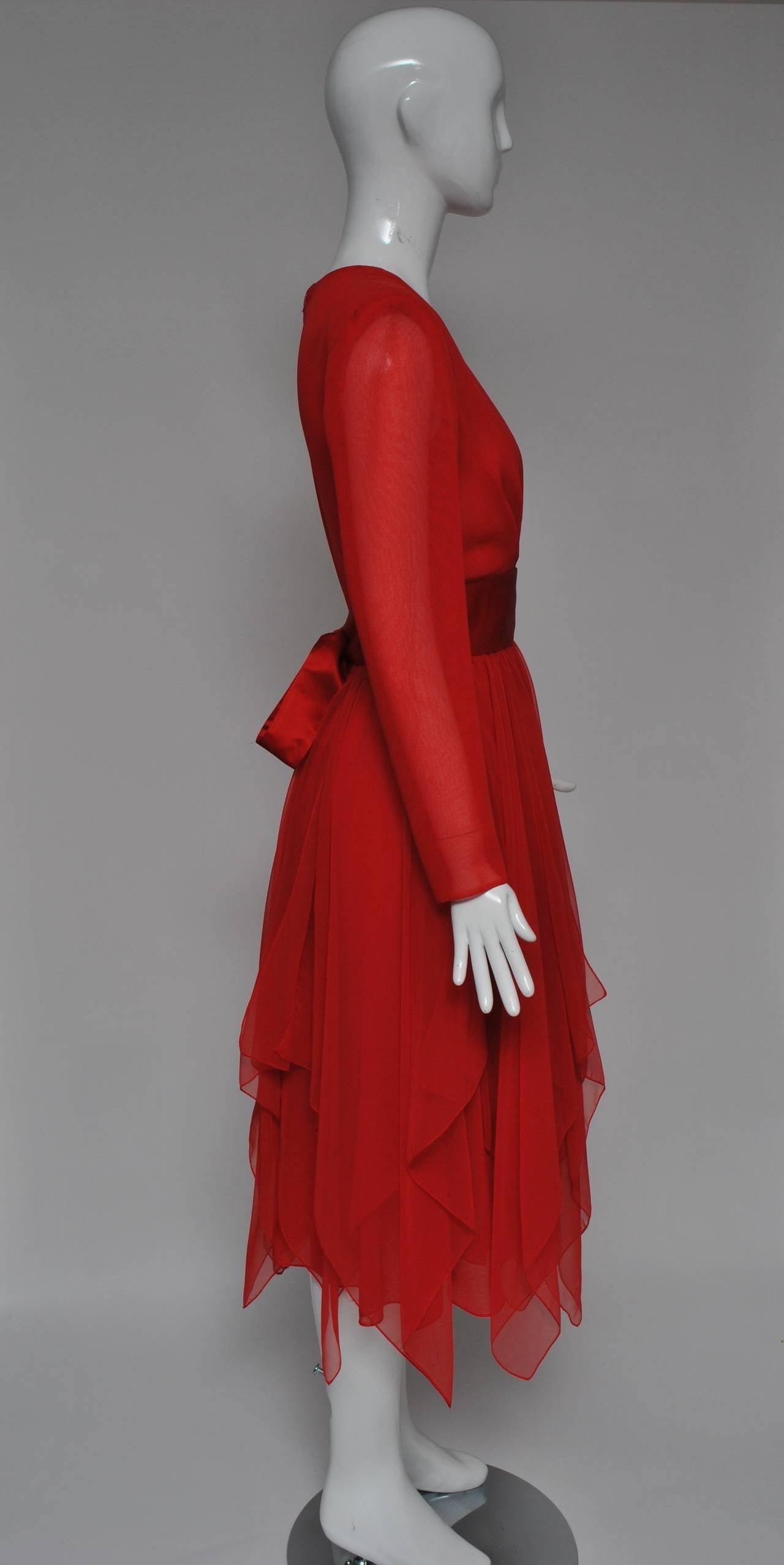 Estevez Red Chiffon Handkerchief Dress 5