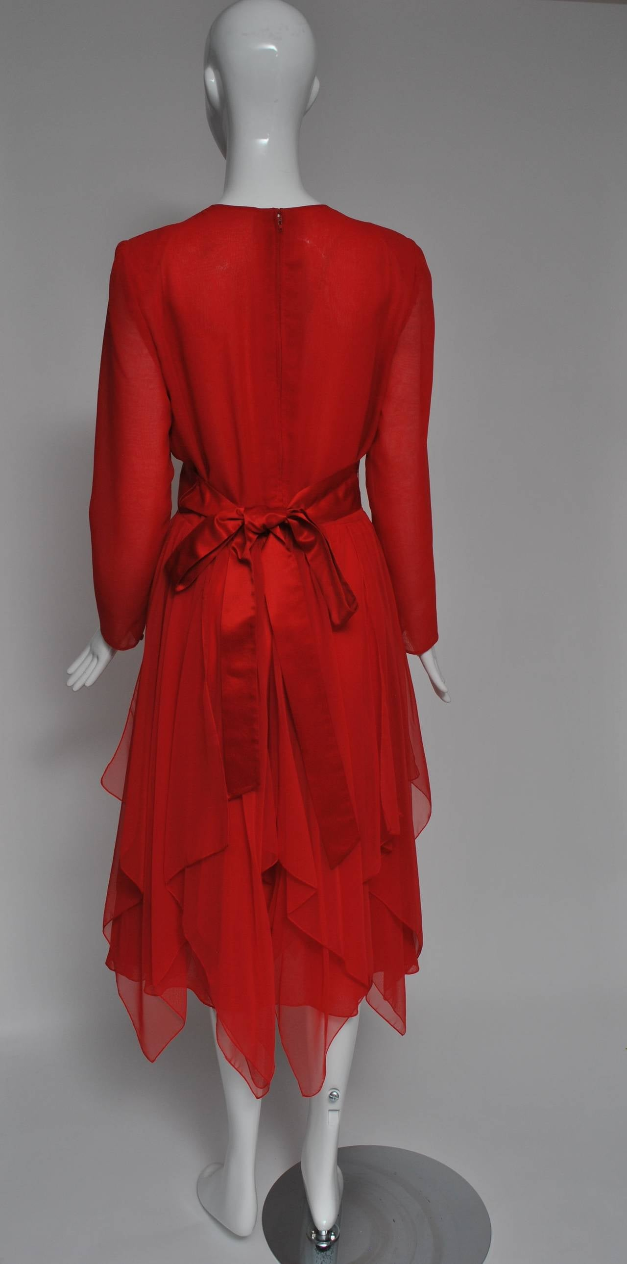 Estevez Red Chiffon Handkerchief Dress In Excellent Condition For Sale In Alford, MA