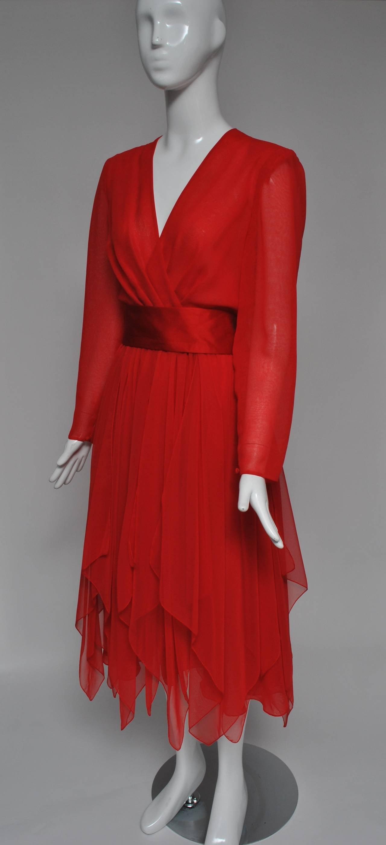 Estevez Red Chiffon Handkerchief Dress 4