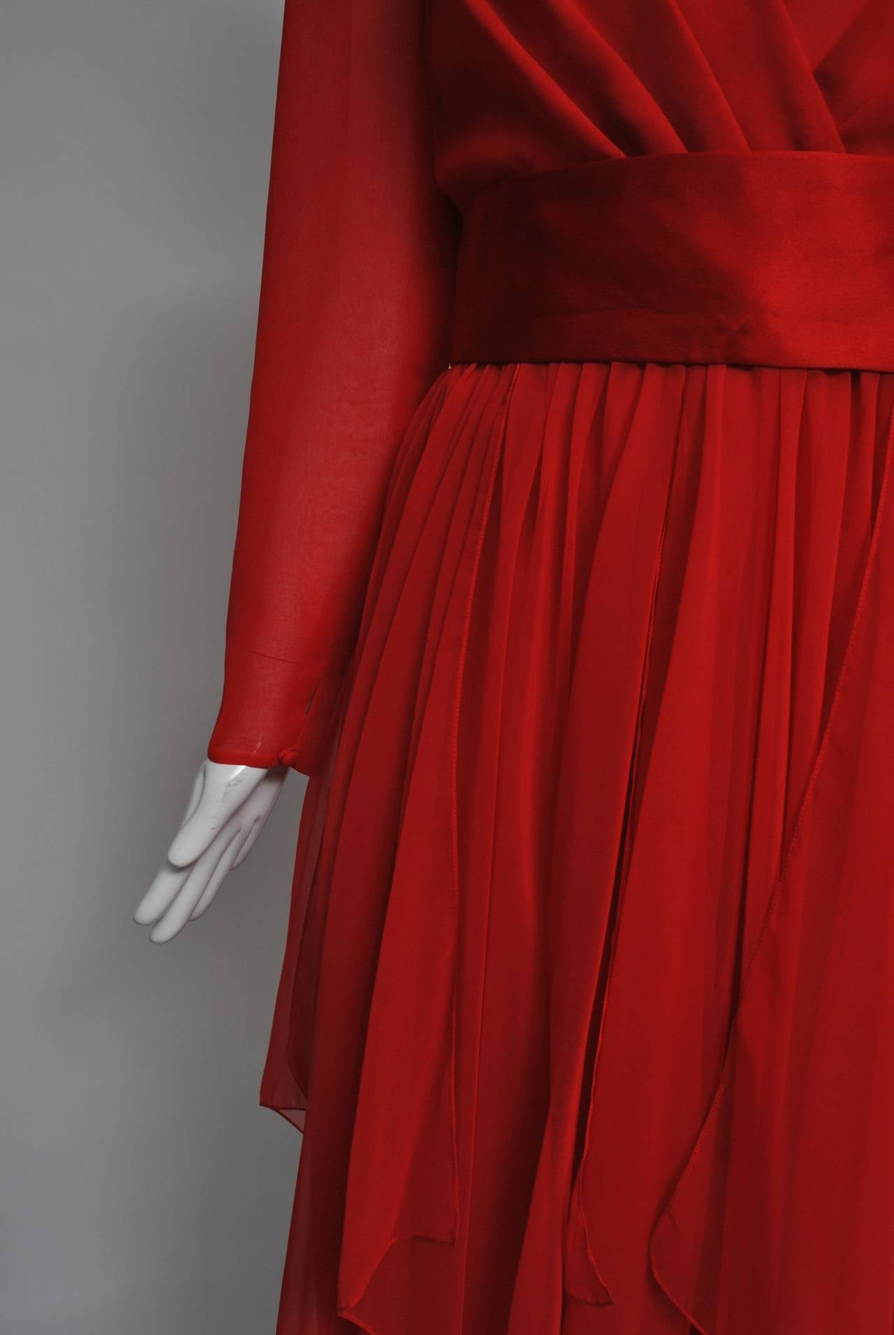 Estevez Red Chiffon Handkerchief Dress For Sale 3