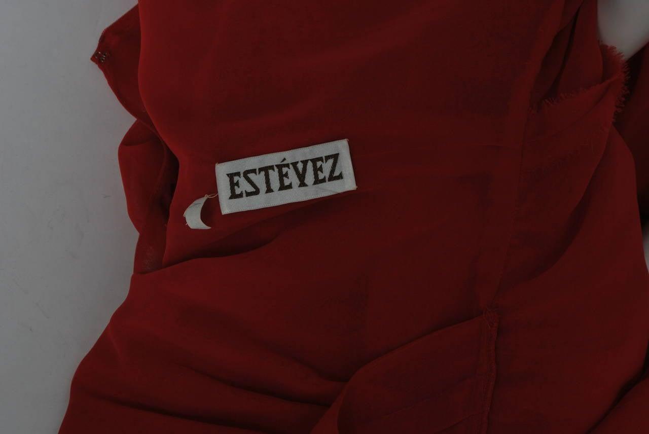 Estevez Red Chiffon Handkerchief Dress 8