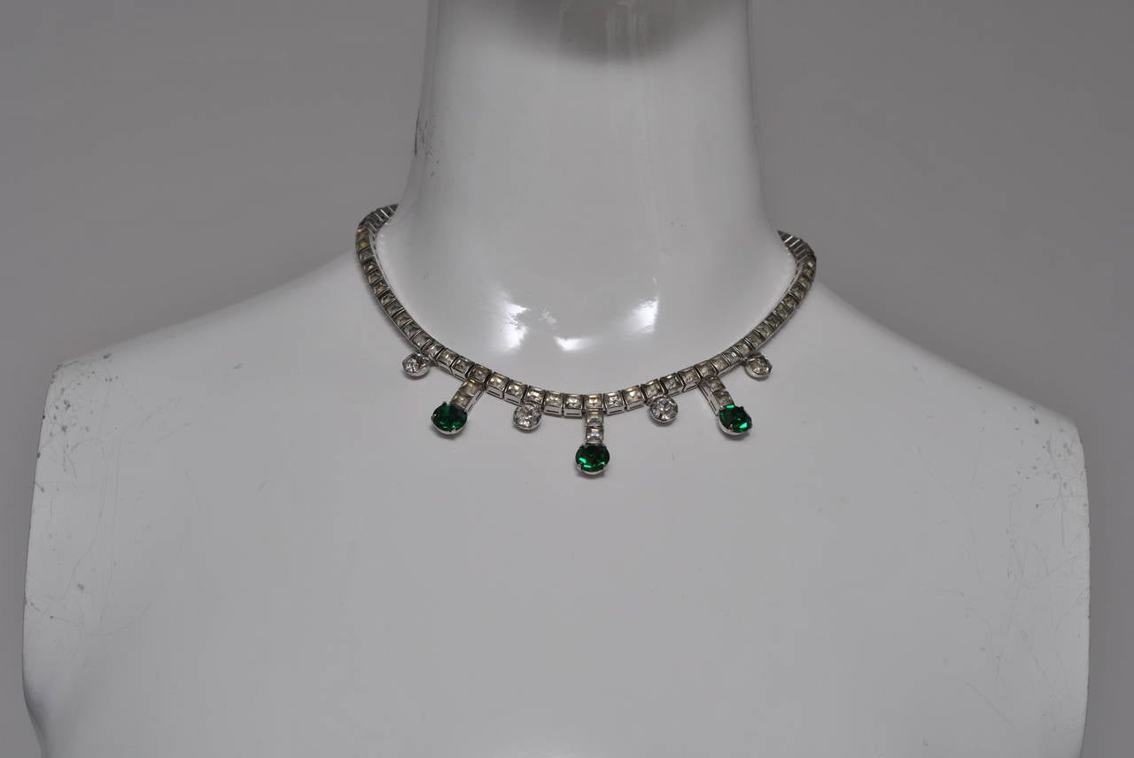Vintage Rhinestone and Emerald Necklace 3