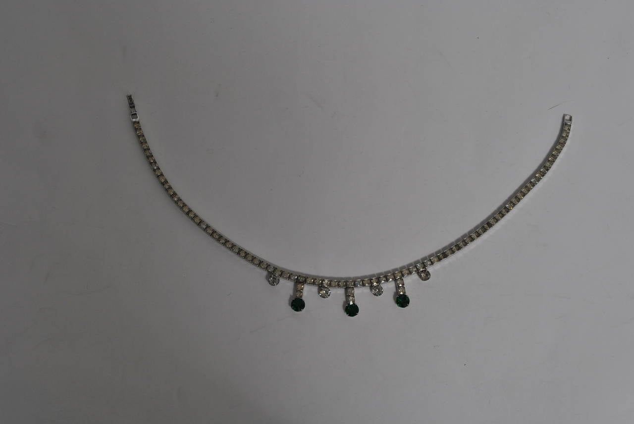 Vintage Rhinestone and Emerald Necklace 4