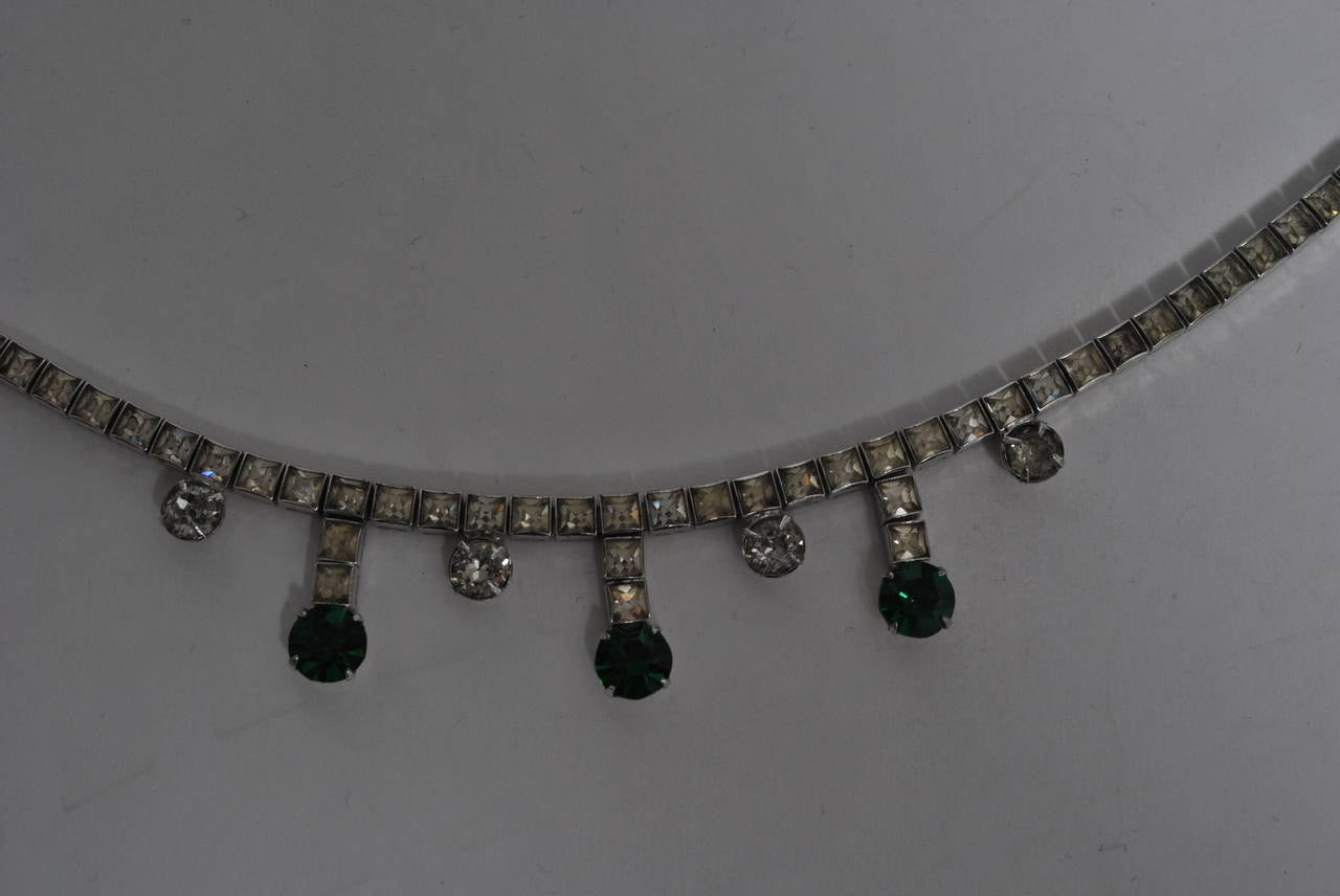 Vintage Rhinestone and Emerald Necklace 6