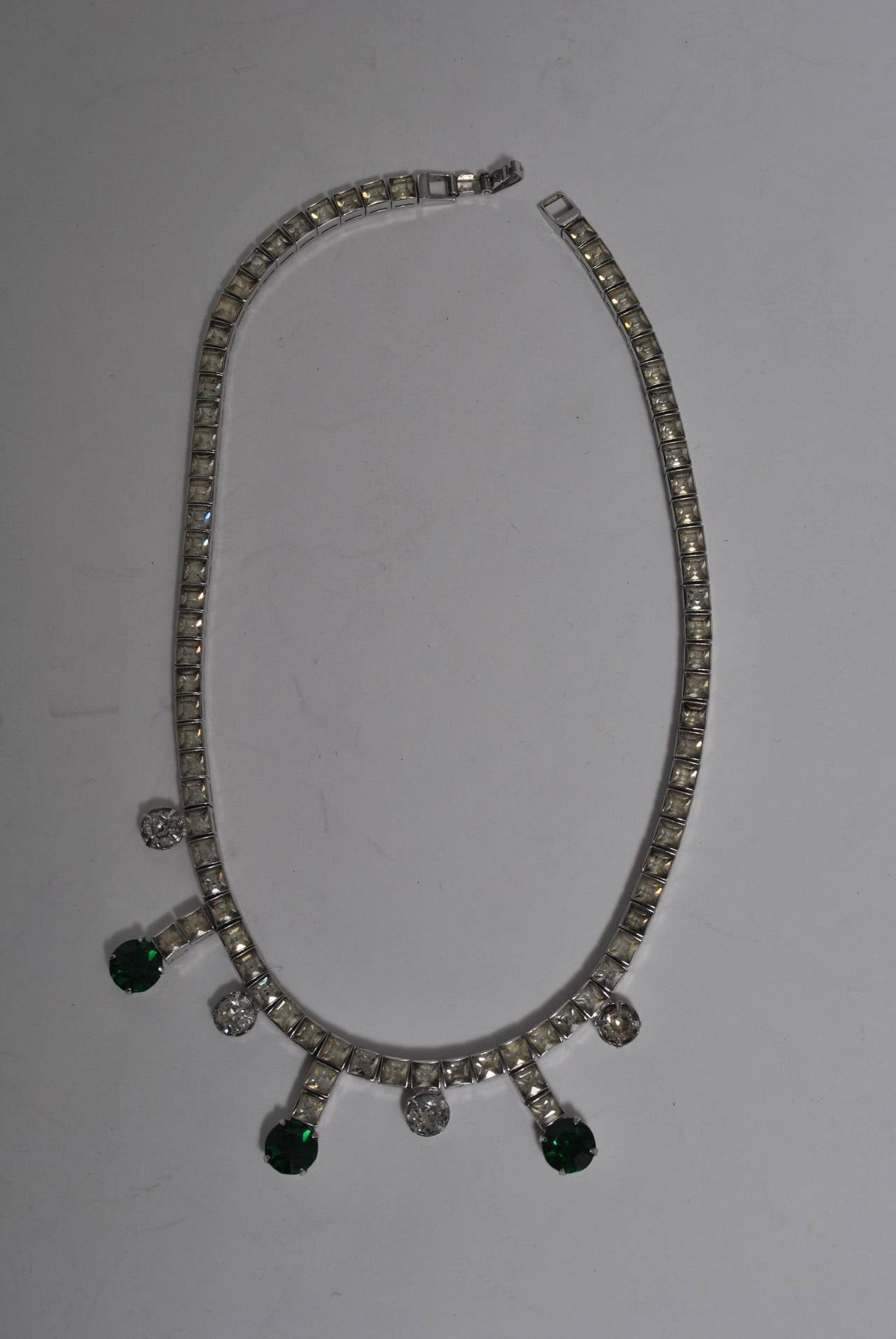 Vintage Rhinestone and Emerald Necklace 5