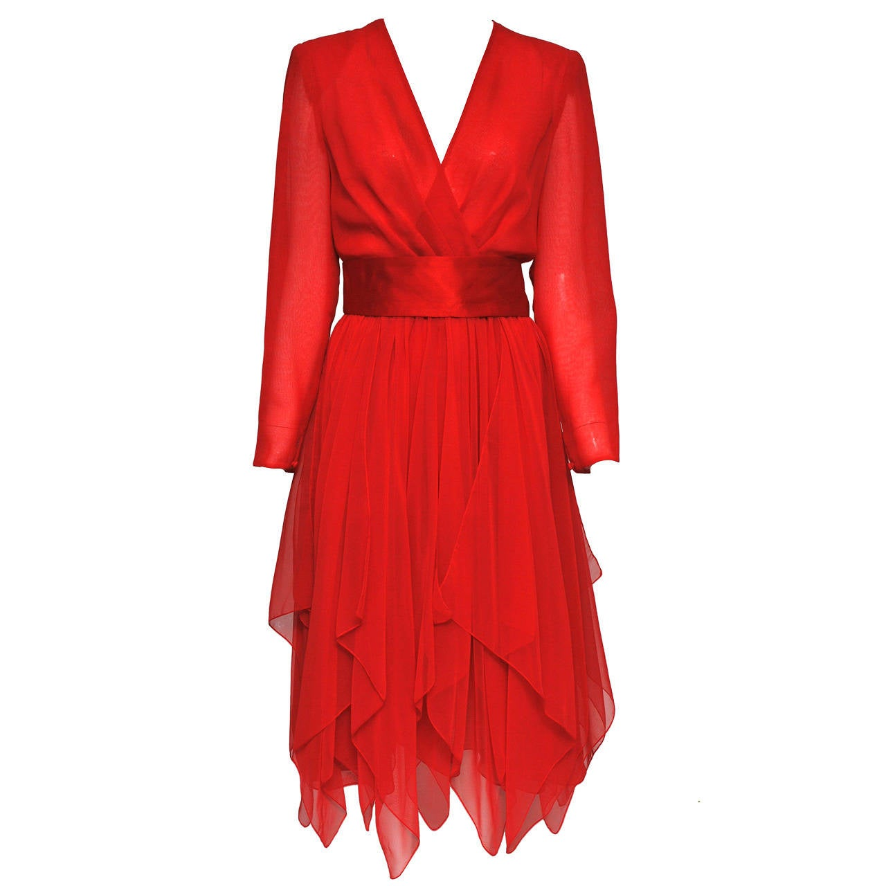 Estevez Red Chiffon Handkerchief Dress For Sale
