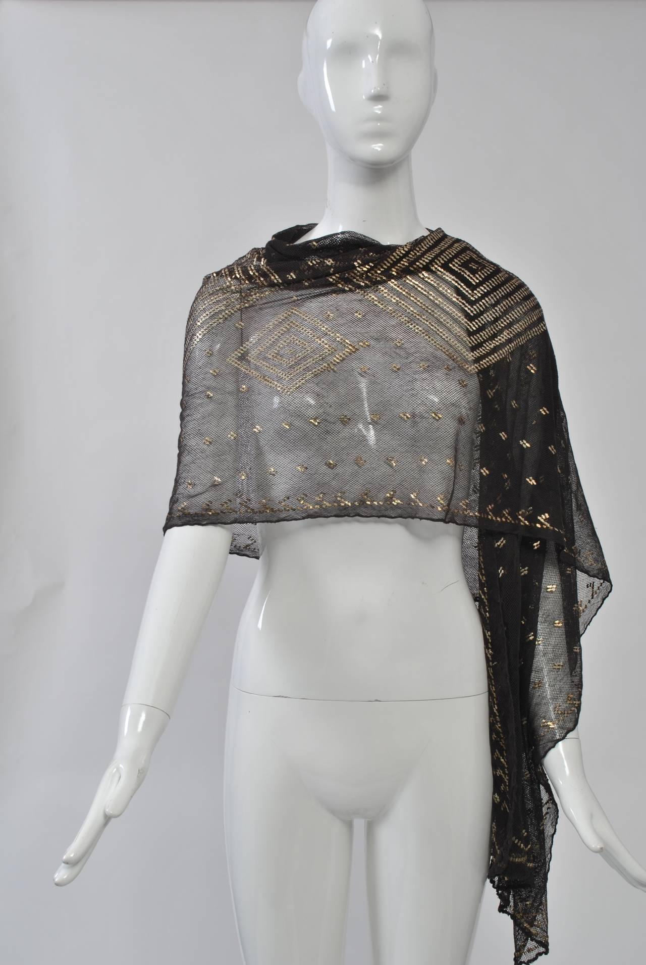 Black Art Deco Assuit Shawl For Sale