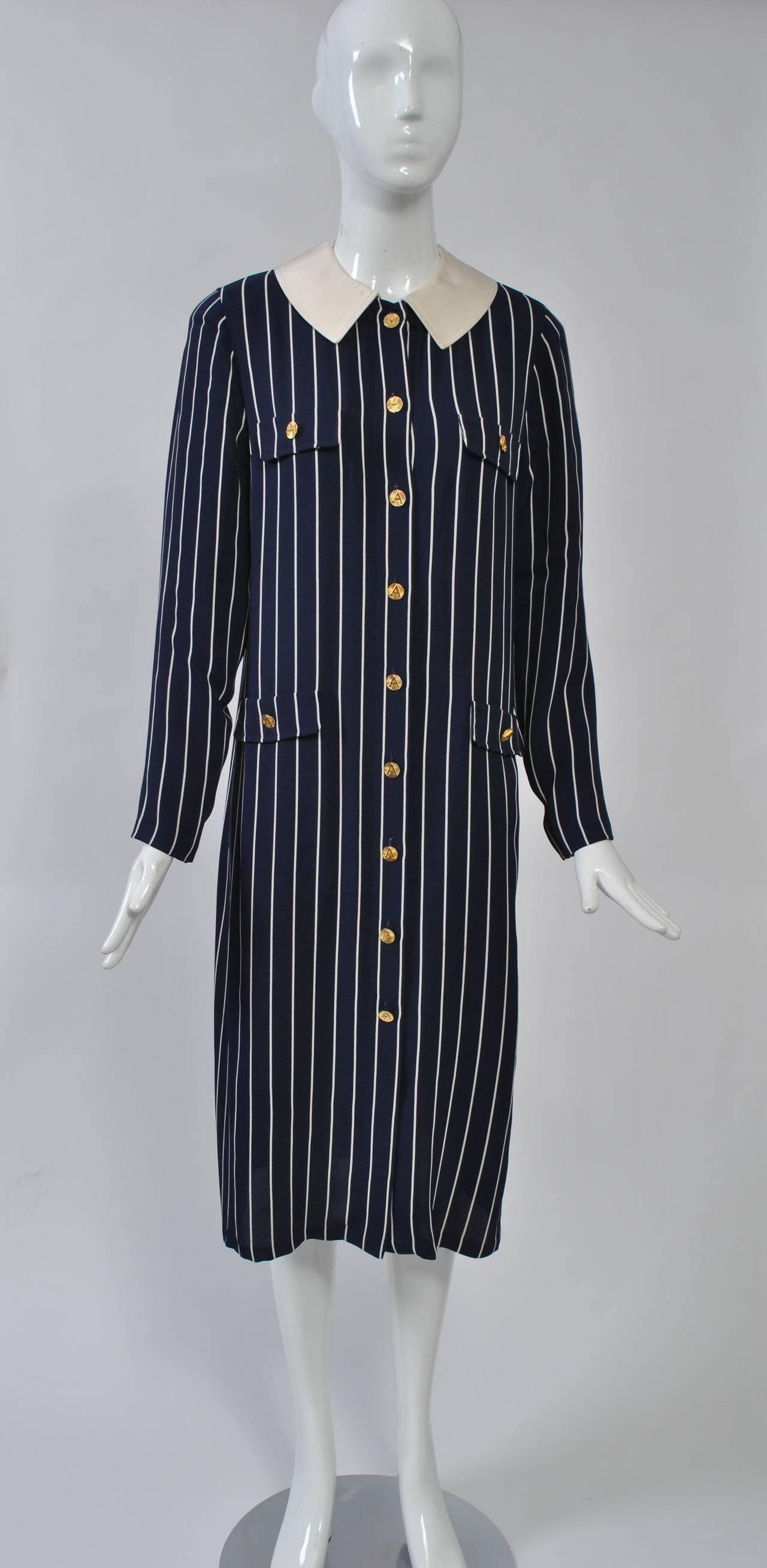 Adolfo Pinstripe Shirtdress 2