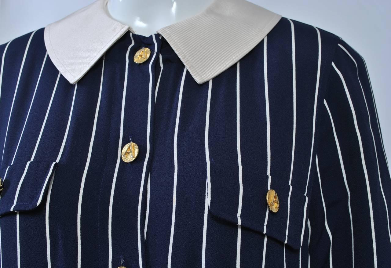 Adolfo Pinstripe Shirtdress 6