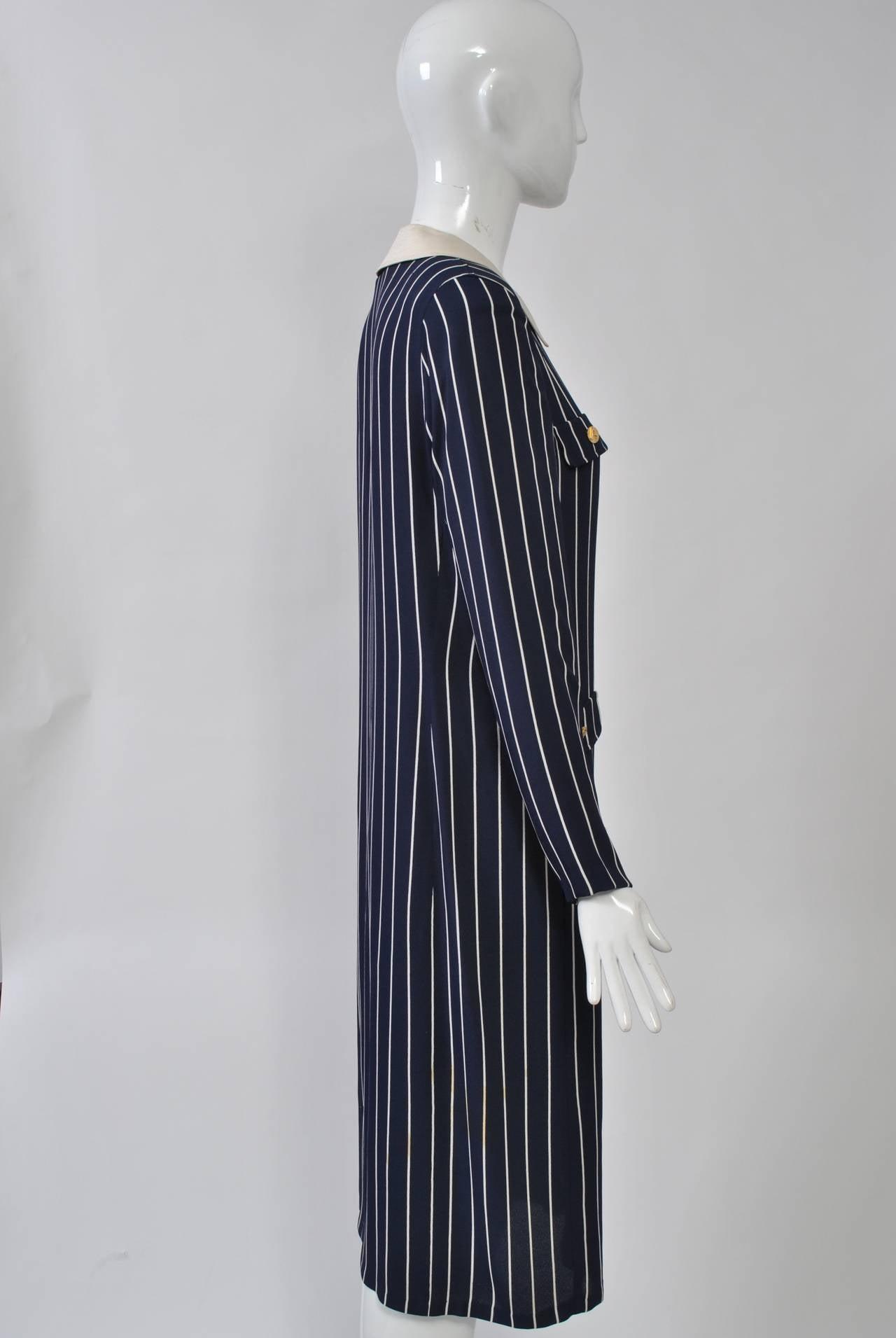 Adolfo Pinstripe Shirtdress 3