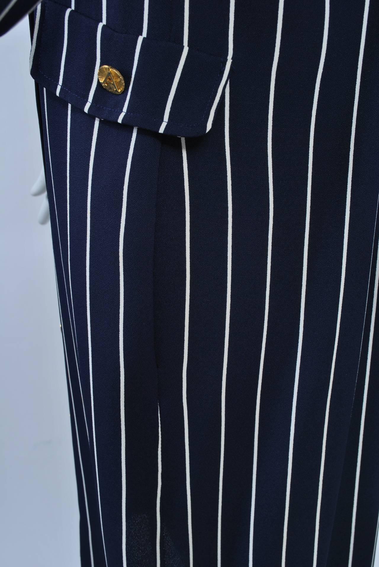 Adolfo Pinstripe Shirtdress 7