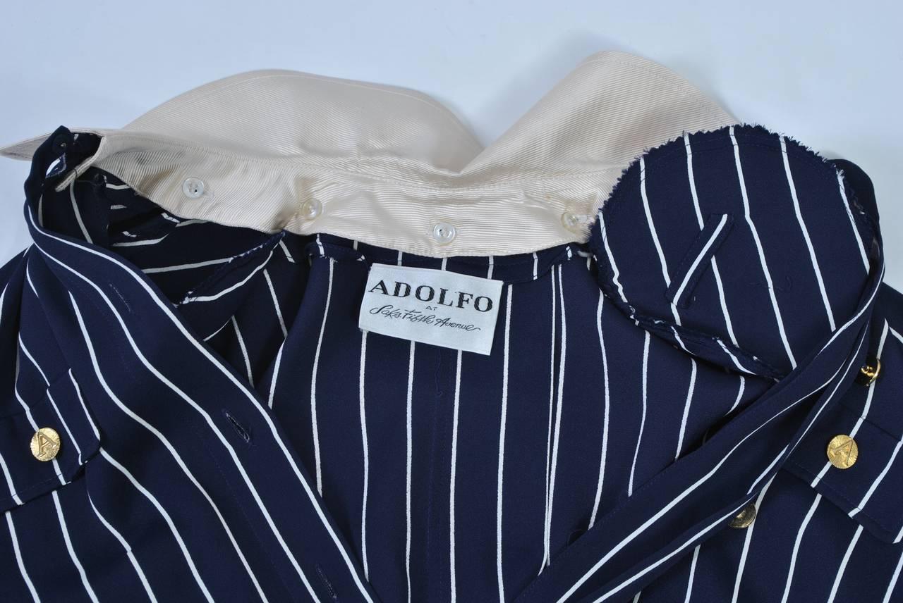 Adolfo Pinstripe Shirtdress 5