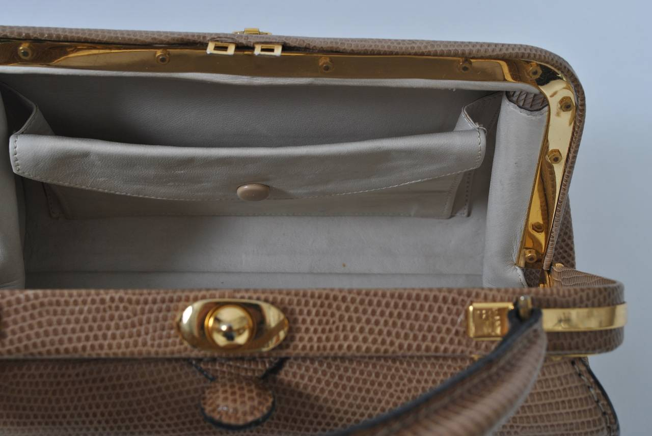 Lederer 1960s Tan Lizard Handbag At 1stdibs