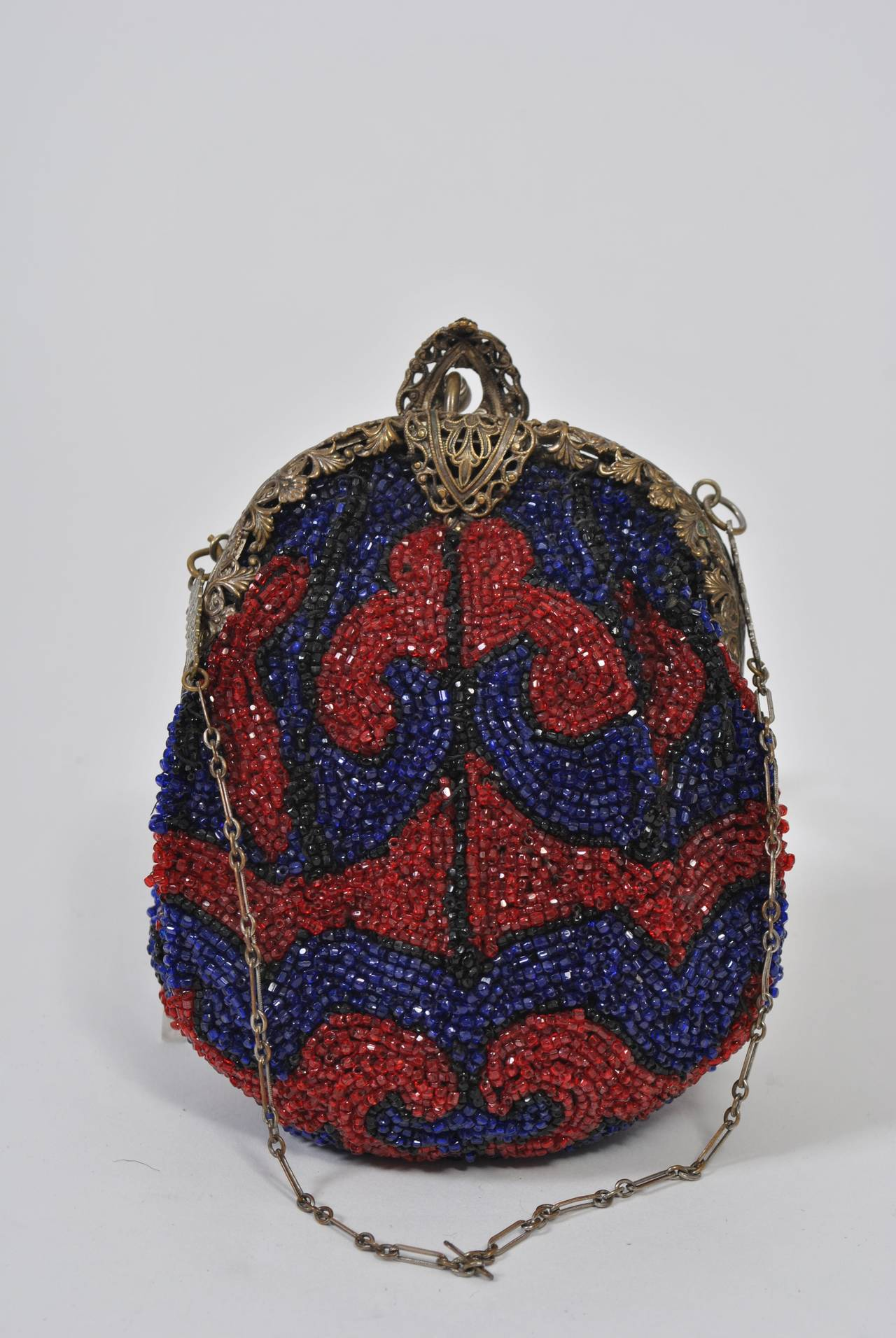 Black 1930s Red and Blue Beaded Purse For Sale