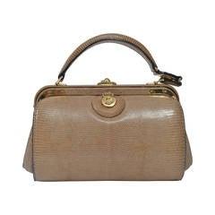 Lederer 1960s Tan Lizard Handbag