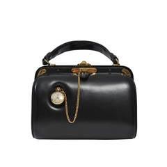 Lederer 1960s Black Leather Watch Handbag