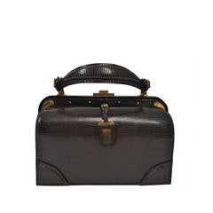 Lederer 1960s Brown Lizard Handbag