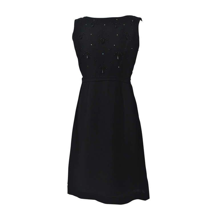1960s Black Crepe Dress with Jet-Beaded Bodice