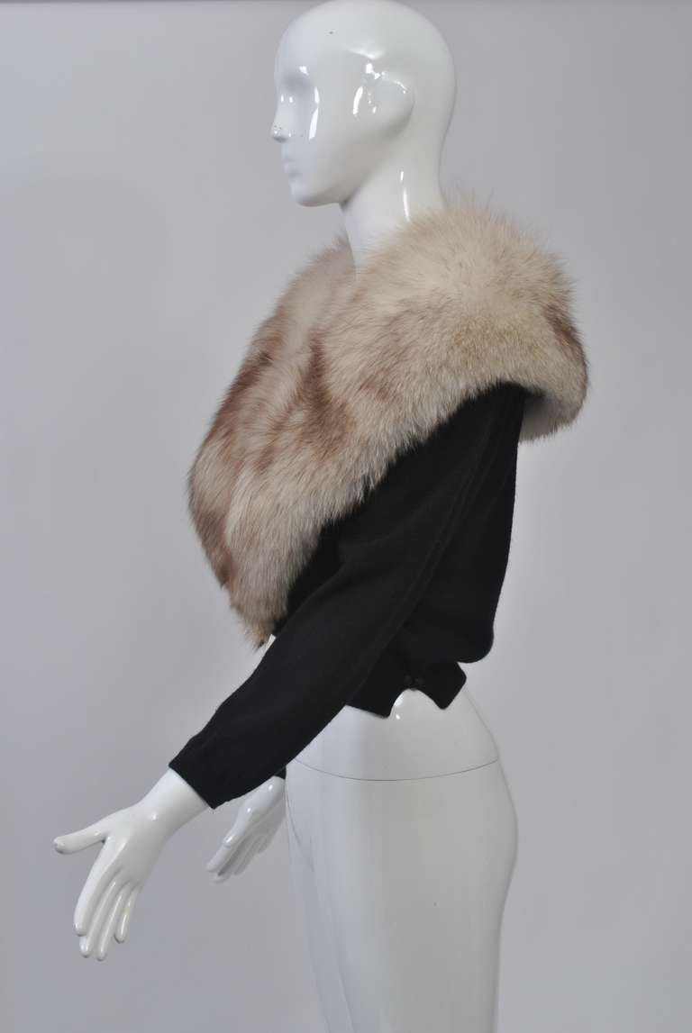 Black Cashmere Cardigan with Fox Collar 4