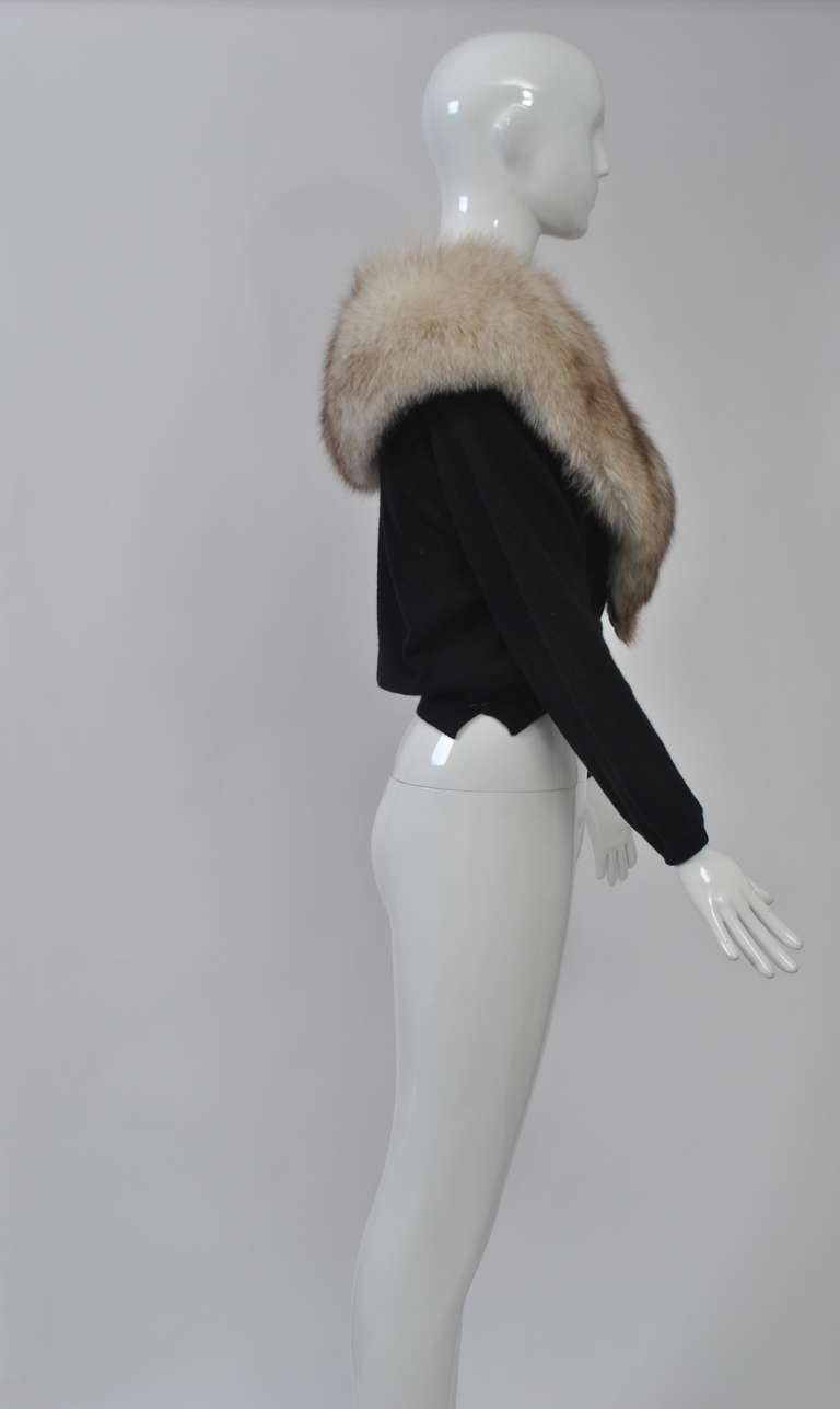 Black Cashmere Cardigan with Fox Collar 6