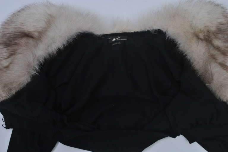 Black Cashmere Cardigan with Fox Collar 7