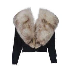 Black Cashmere Cardigan with Fox Collar