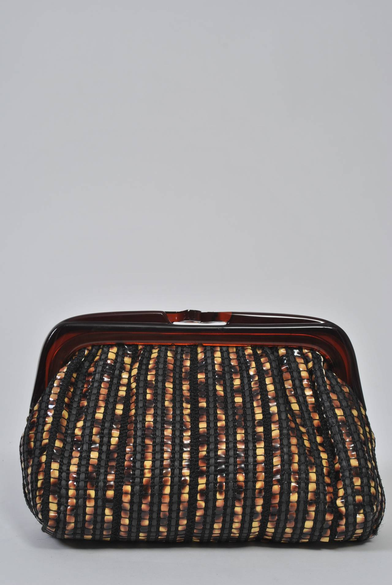 1970s Tortoise Look Clutch, Italy In Excellent Condition For Sale In Alford, MA