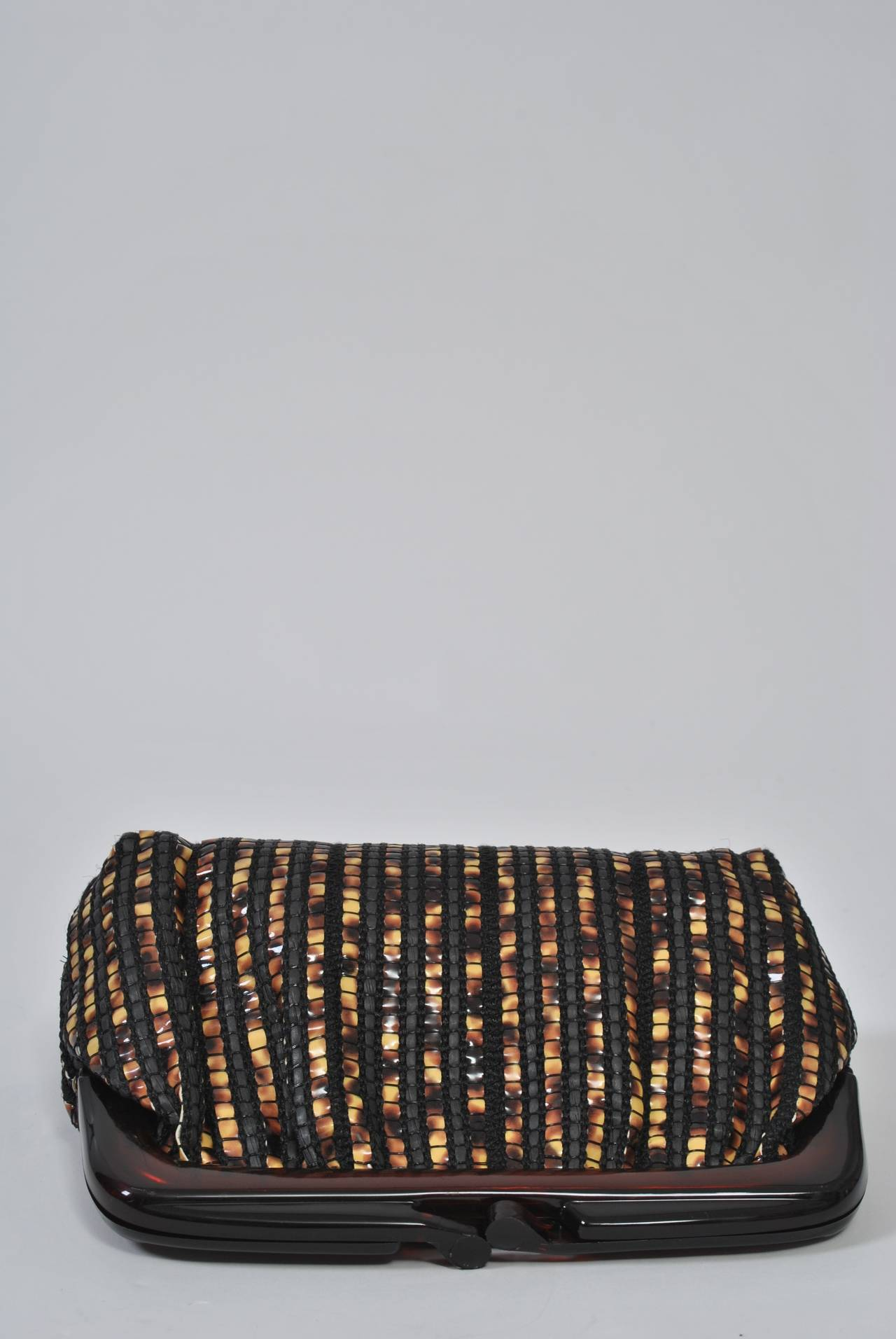 Black 1970s Tortoise Look Clutch, Italy For Sale