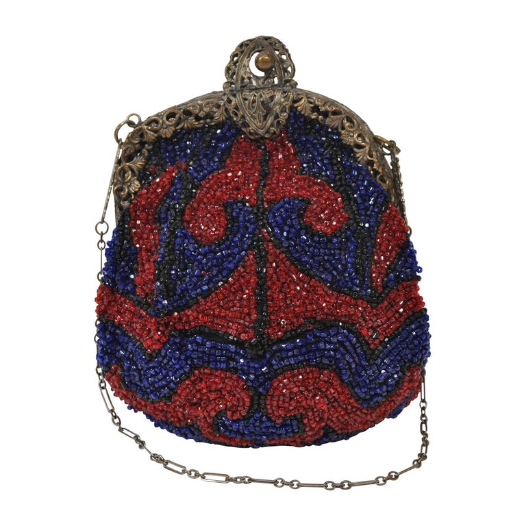 1930s Red and Blue Beaded Purse For Sale