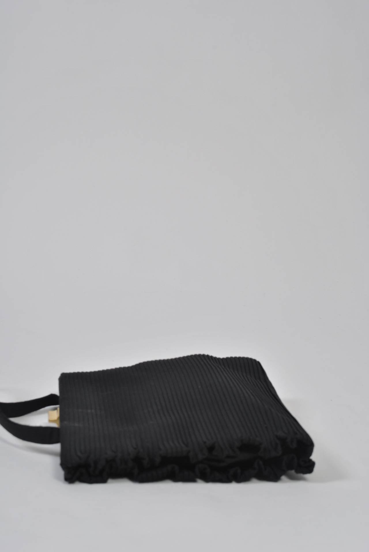 Black Ribbed Evening Bag For Sale 3