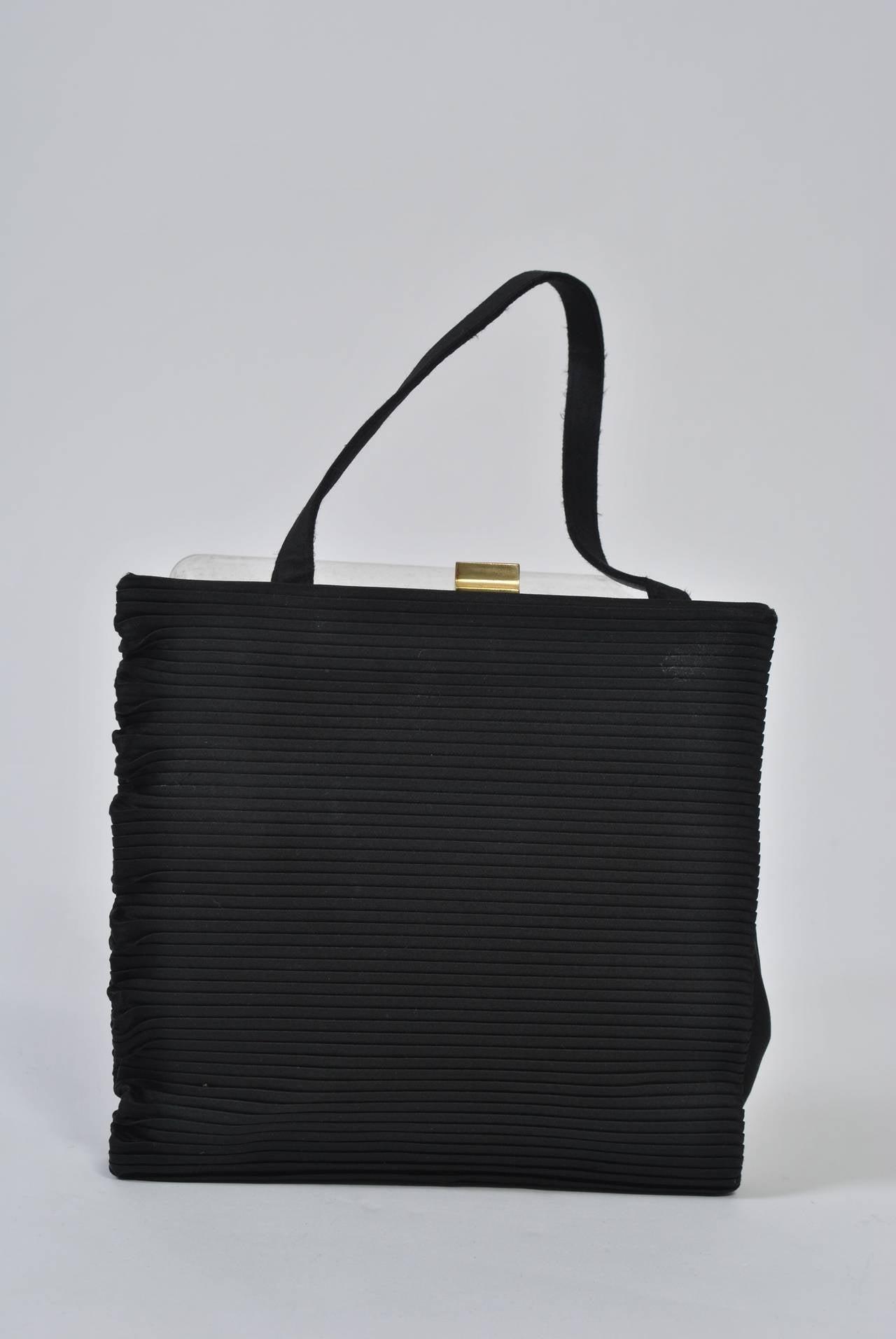Black Ribbed Evening Bag For Sale 5