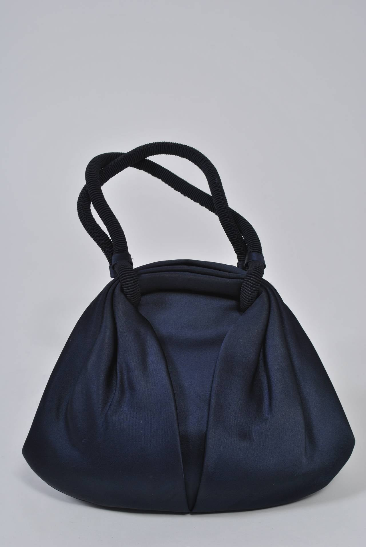 Navy Satin Purse with Tortoise Kiss Clasp, Paris 4