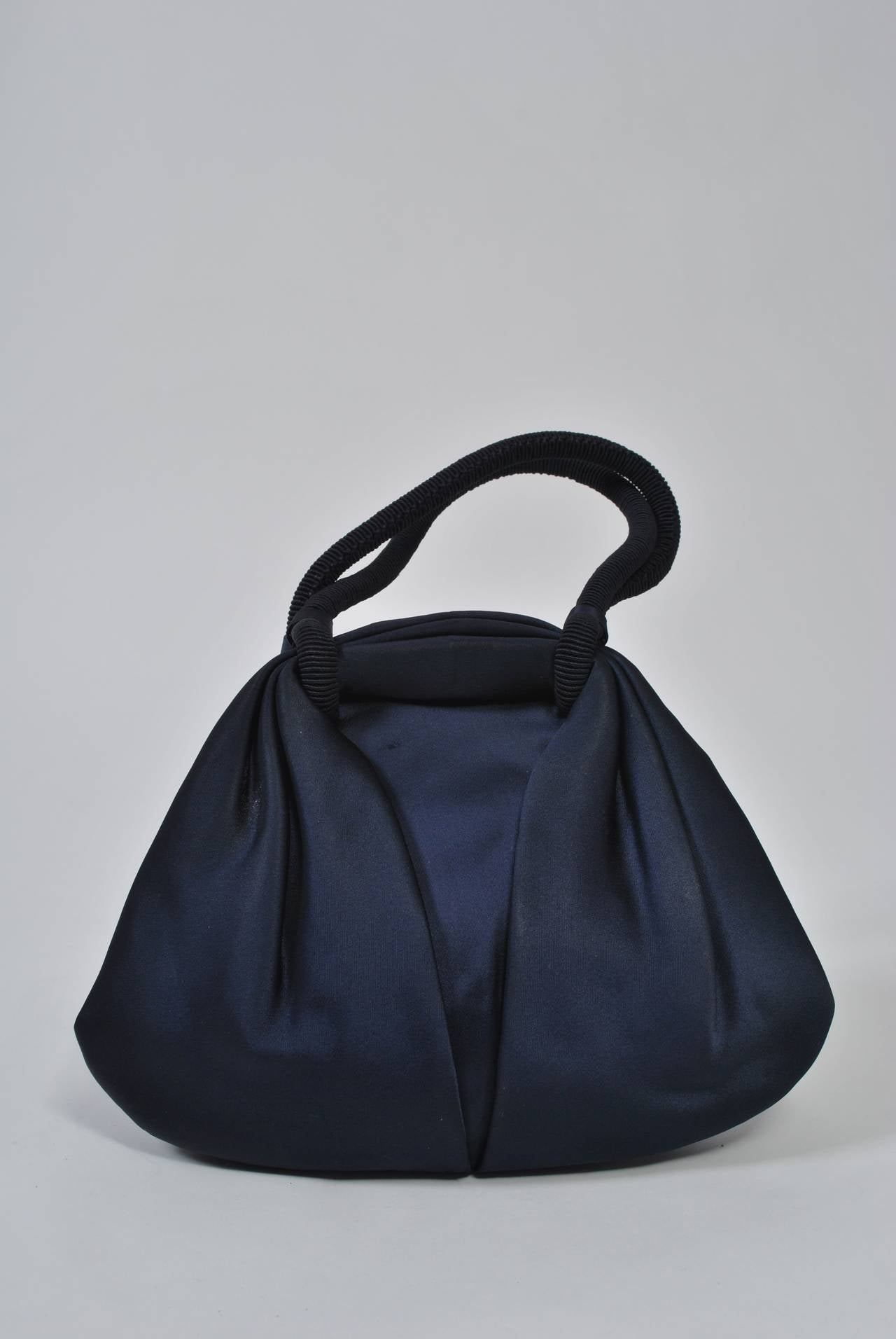 Navy Satin Purse with Tortoise Kiss Clasp, Paris 2