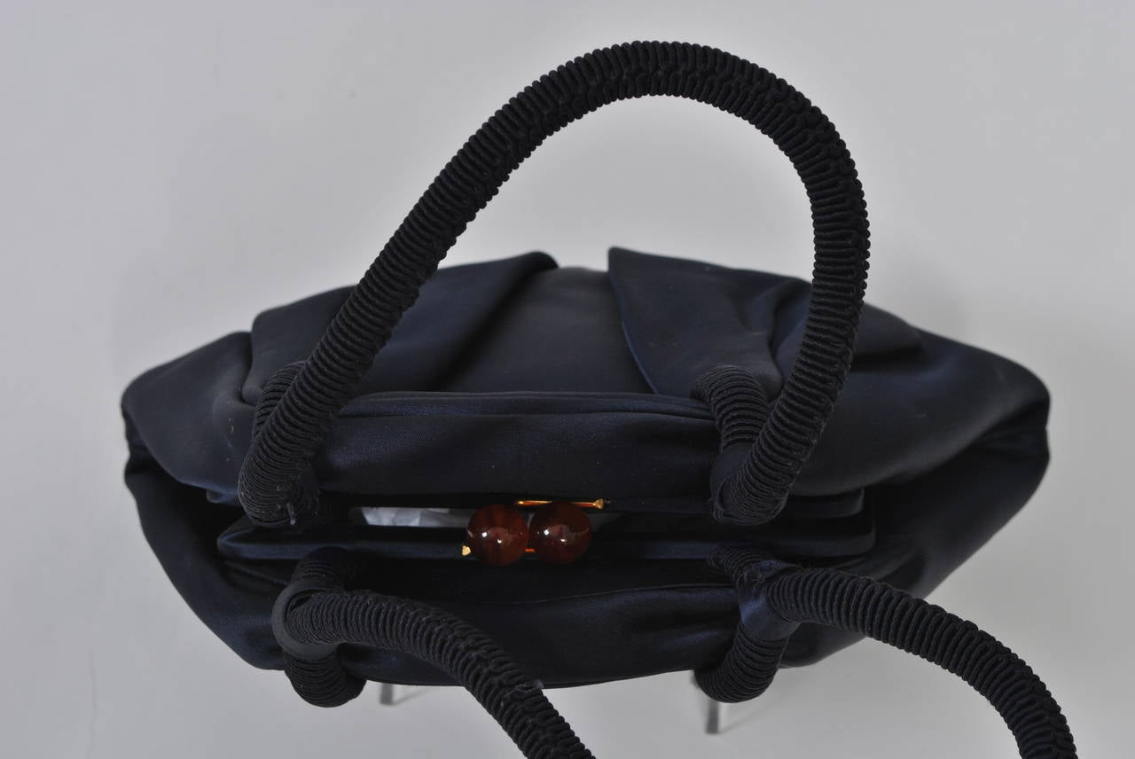 Navy Satin Purse with Tortoise Kiss Clasp, Paris 10
