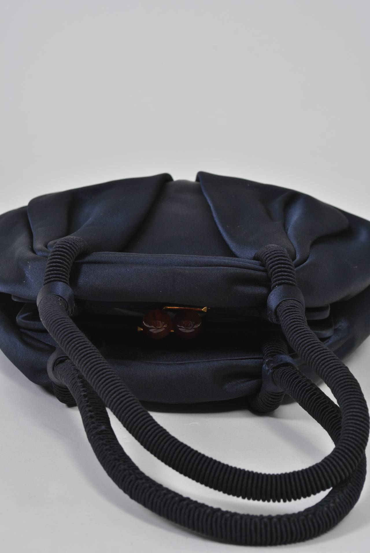 Navy Satin Purse with Tortoise Kiss Clasp, Paris 3