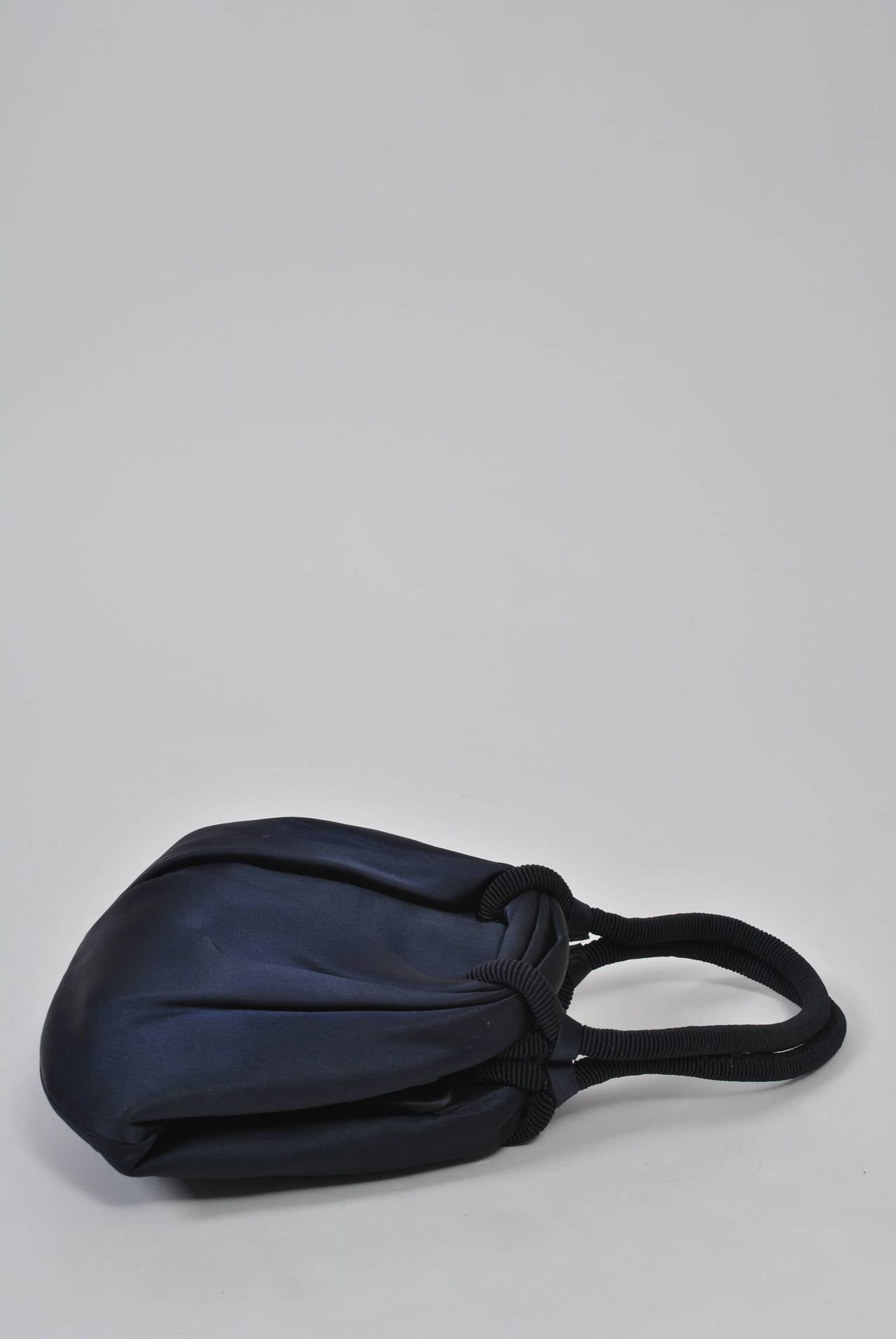 Navy Satin Purse with Tortoise Kiss Clasp, Paris 7