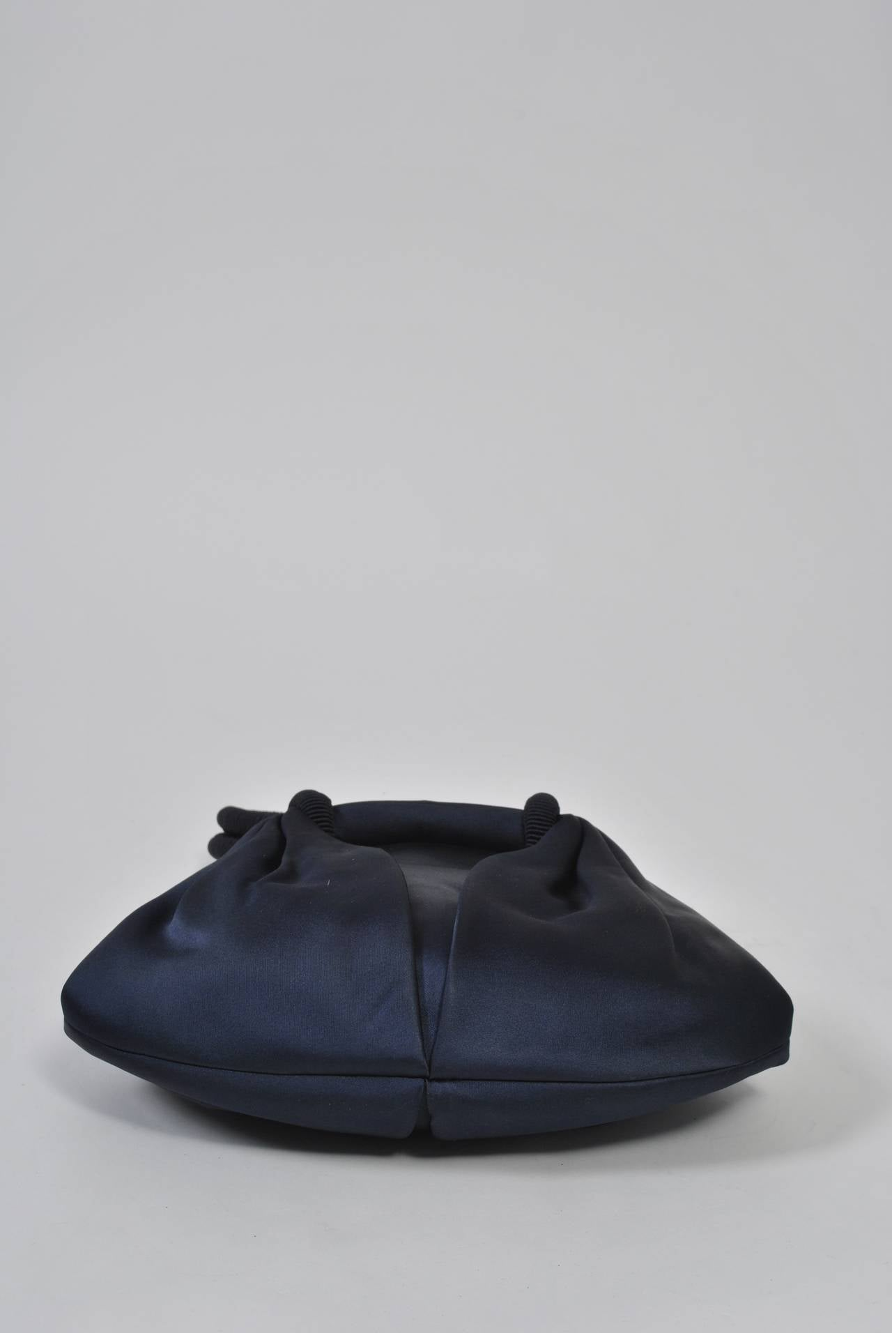 Navy Satin Purse with Tortoise Kiss Clasp, Paris 6