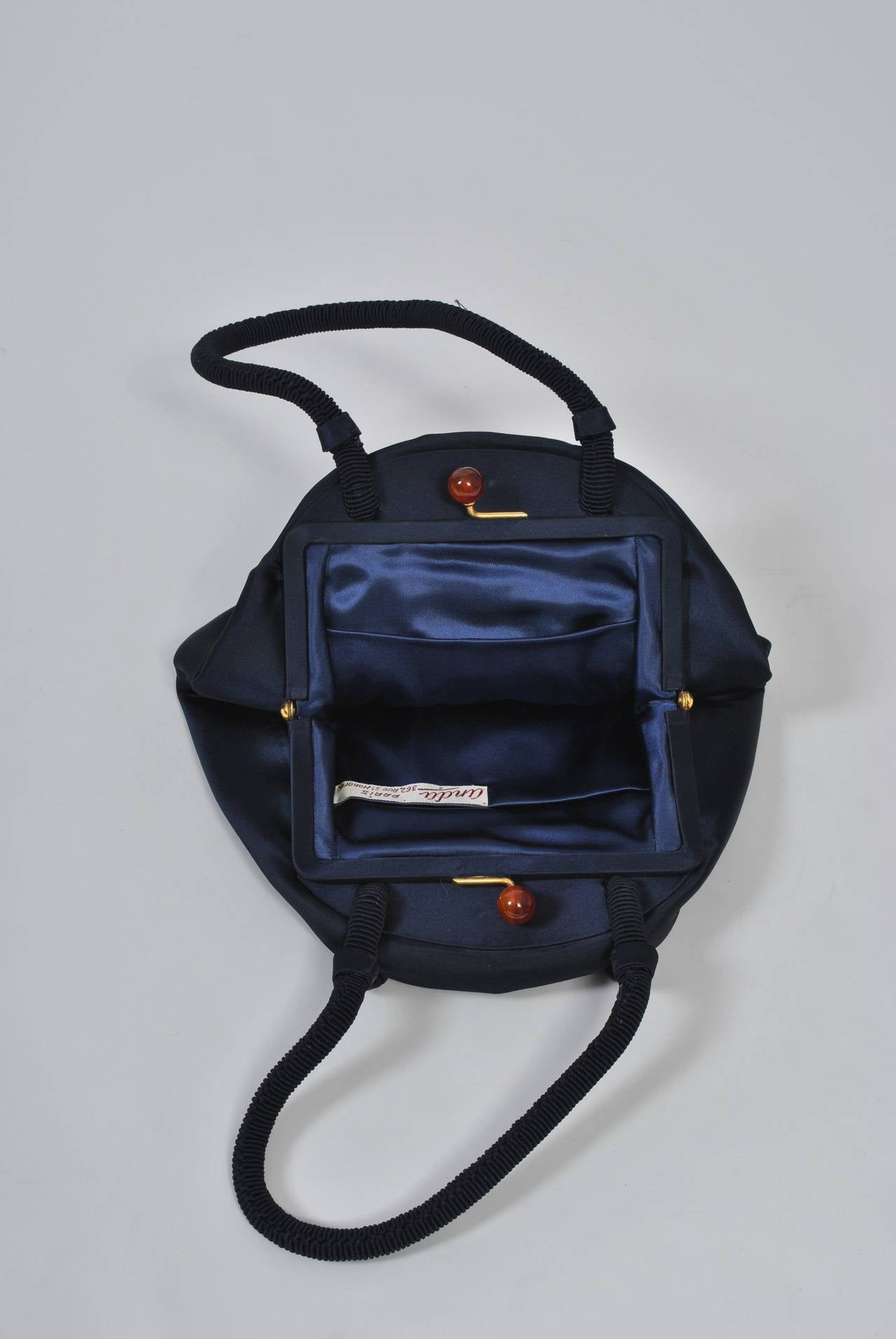Navy Satin Purse with Tortoise Kiss Clasp, Paris 8