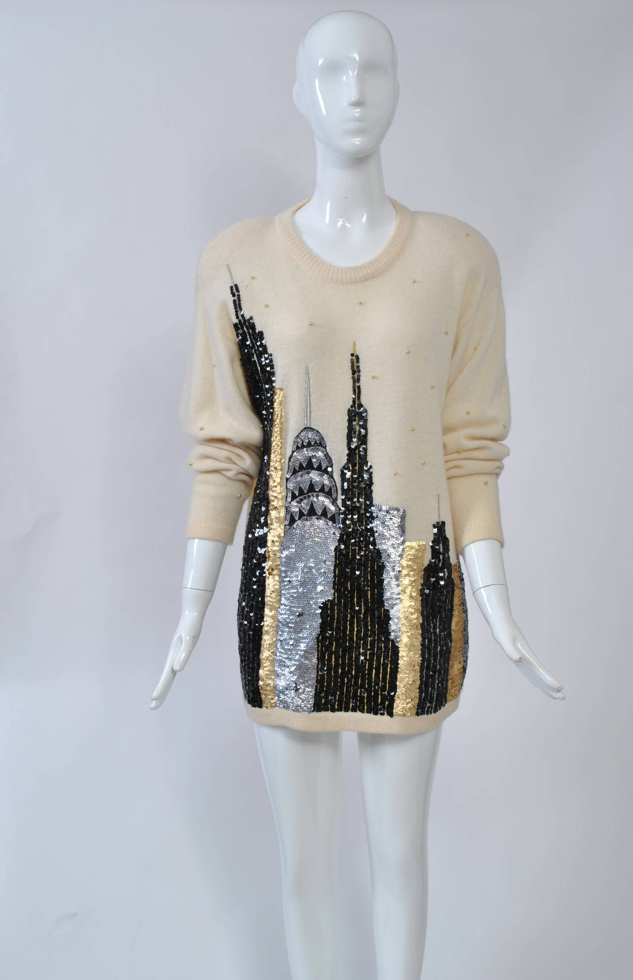1980s Sequined NY Skyline Sweater 4