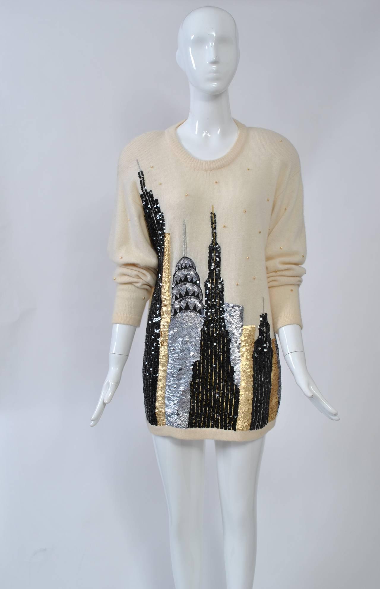NY Sequined Skyline Sweater 4