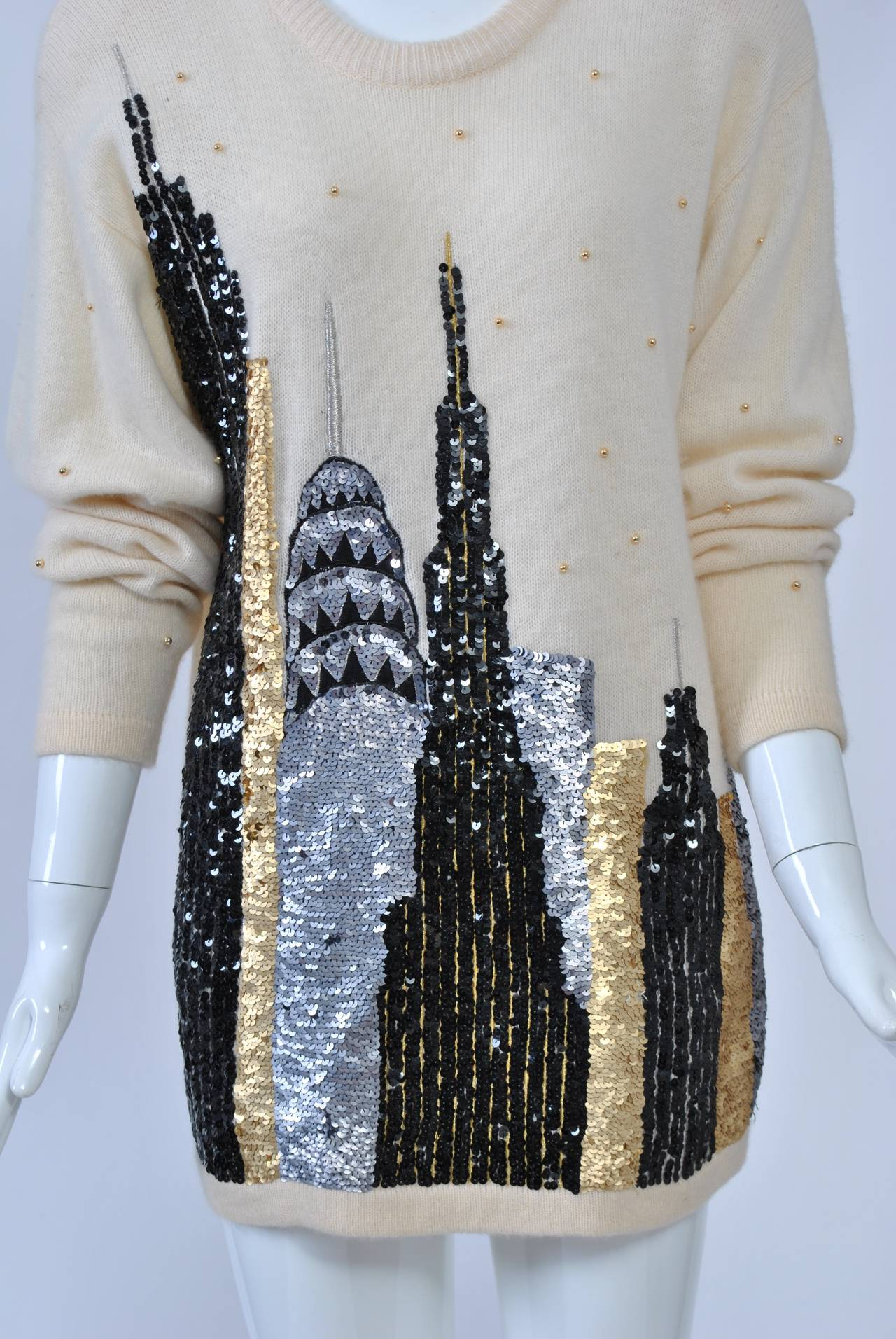 1980s Sequined NY Skyline Sweater 5