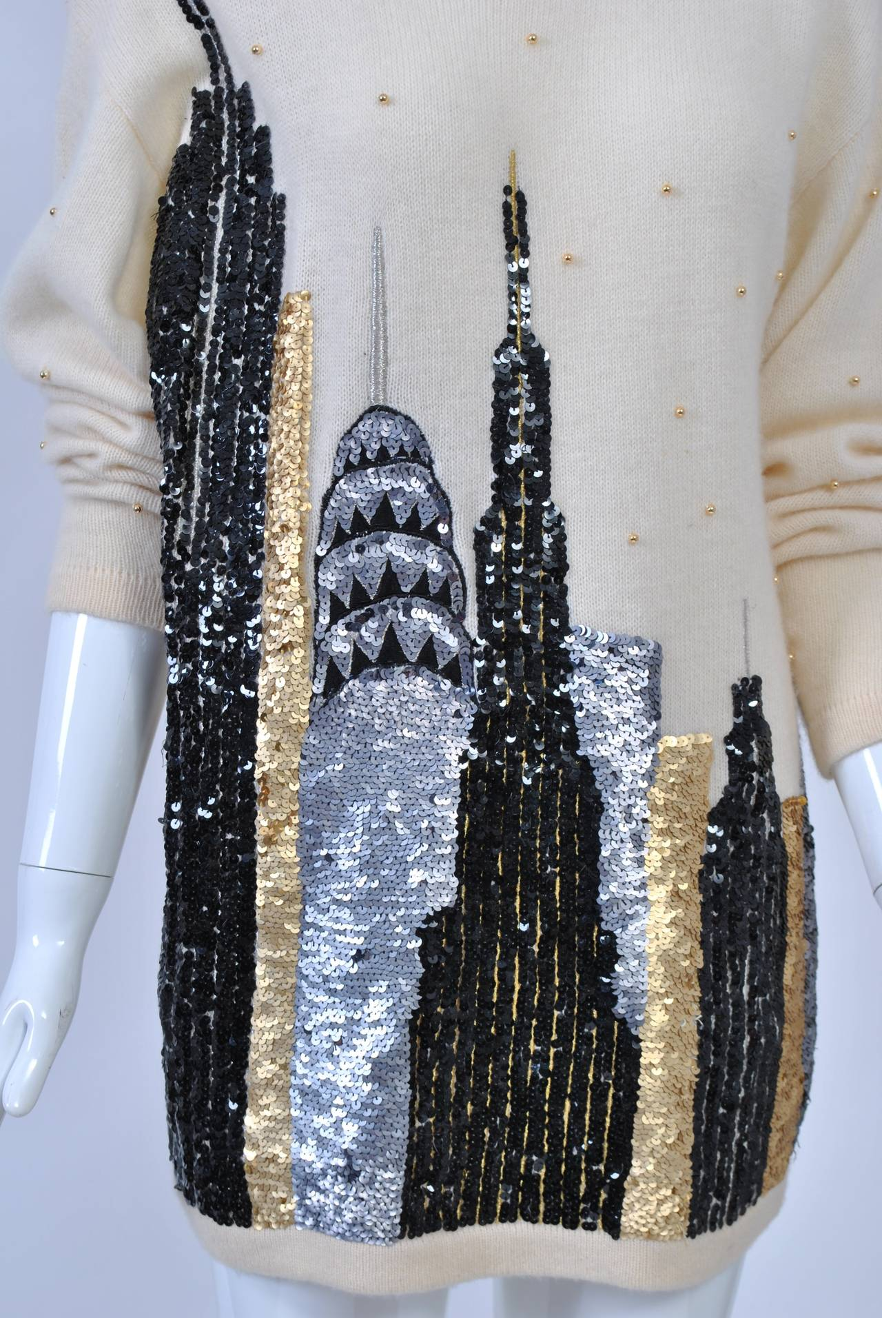 1980s Sequined NY Skyline Sweater 7