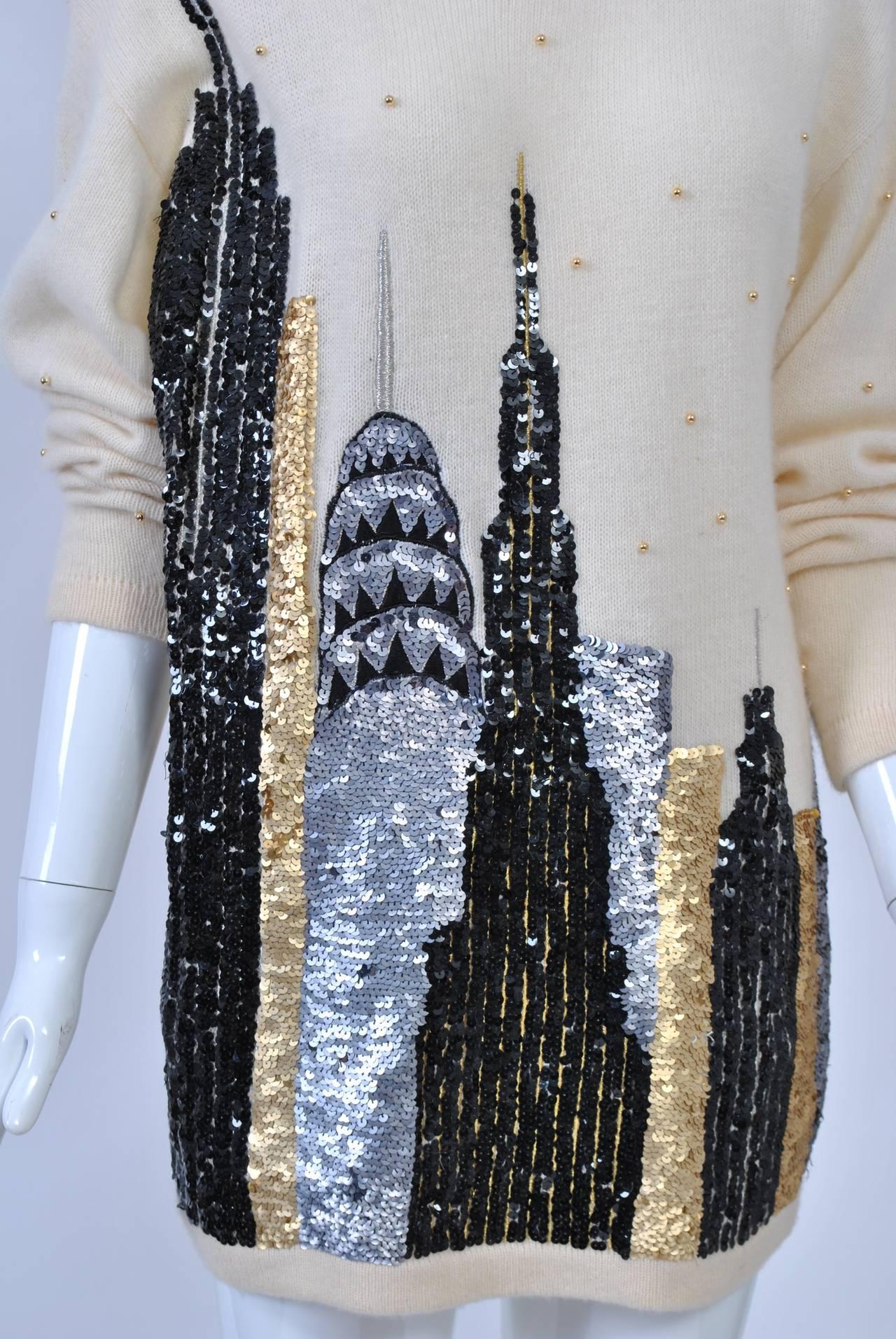NY Sequined Skyline Sweater 7