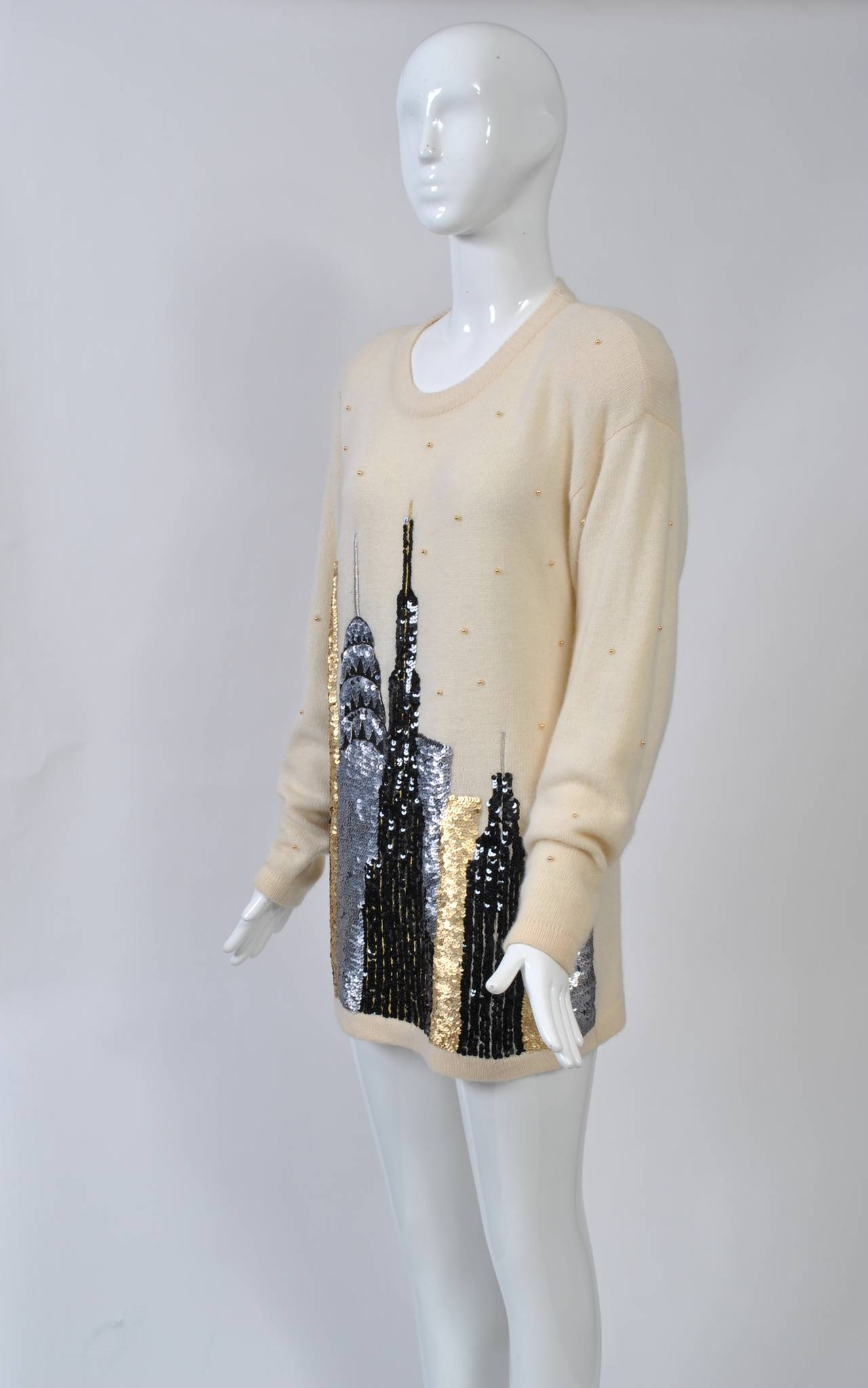 1980s Sequined NY Skyline Sweater 6
