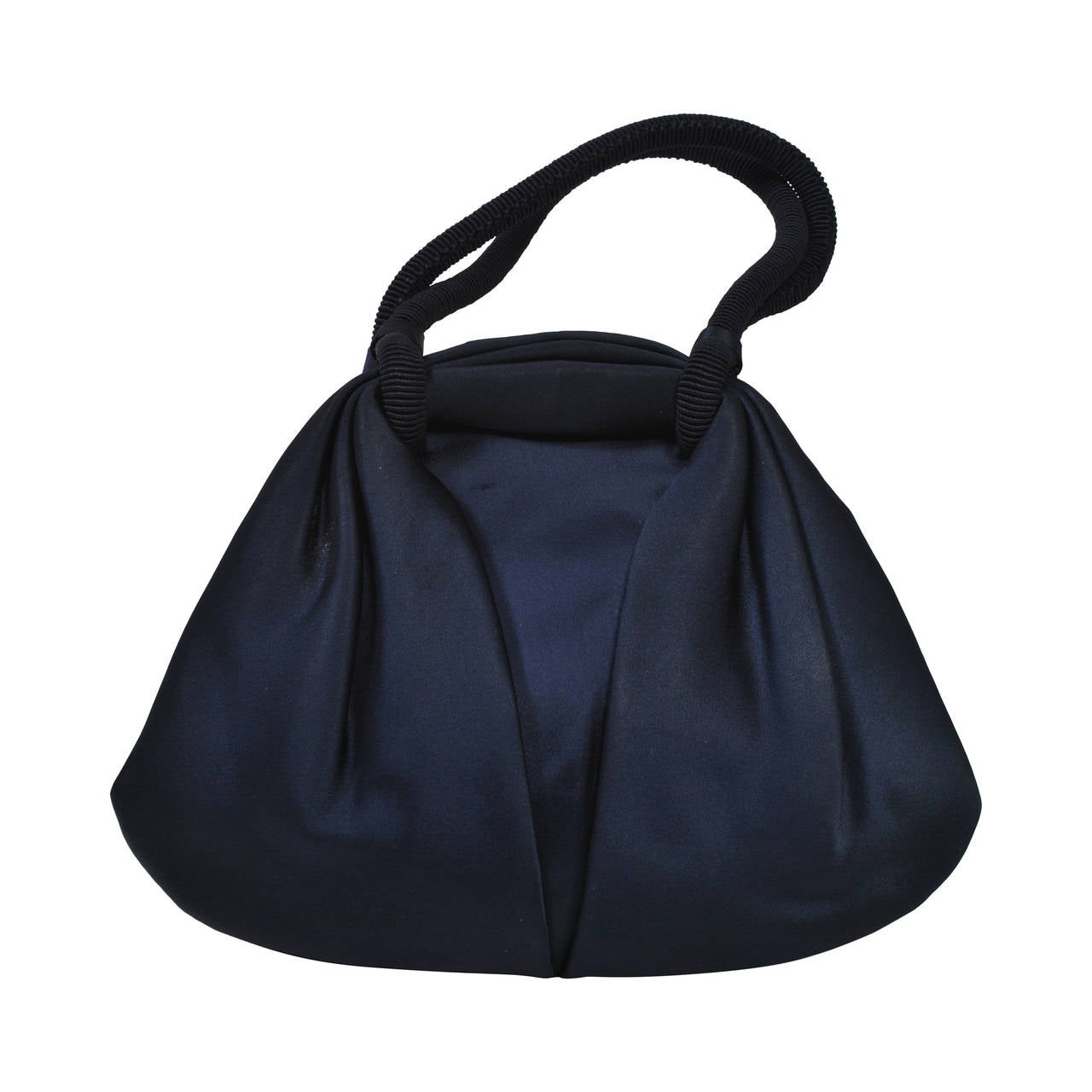 Navy Satin Purse with Tortoise Kiss Clasp, Paris 1