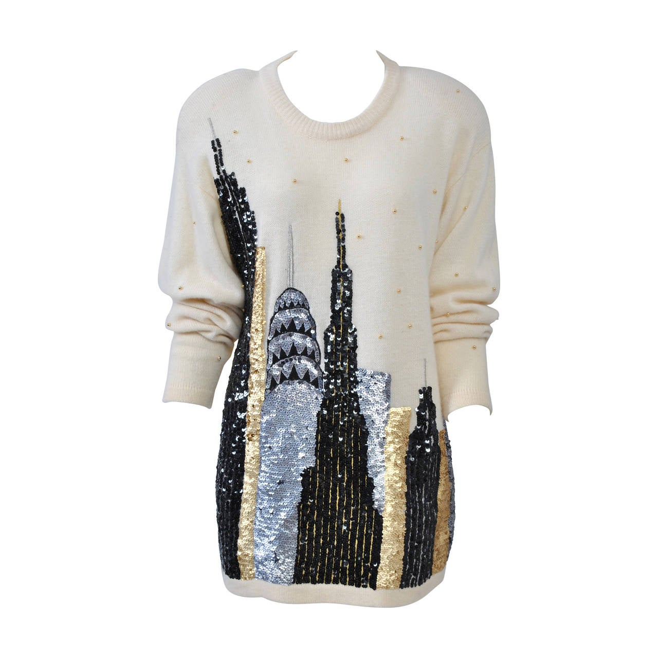 1980s Sequined NY Skyline Sweater 1