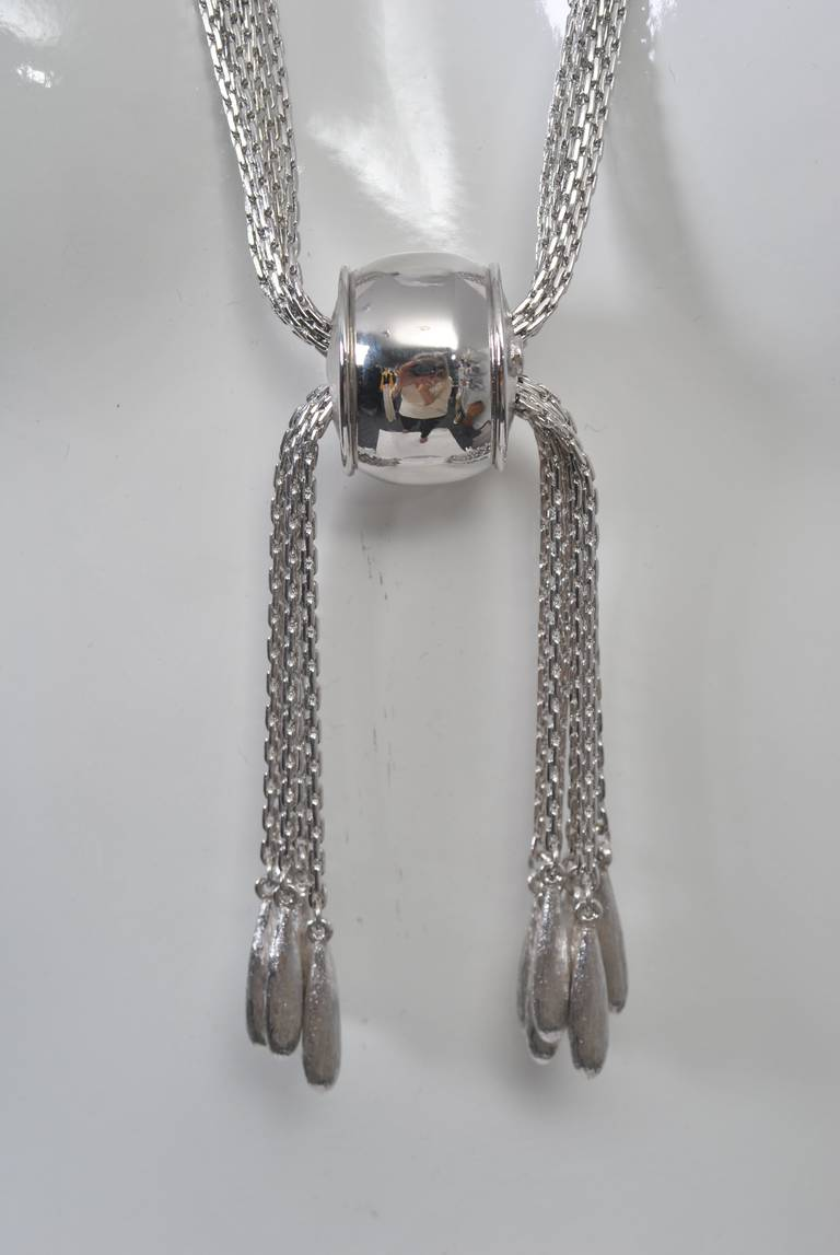 Monet Silver Chain Slide Necklace For Sale At 1stdibs