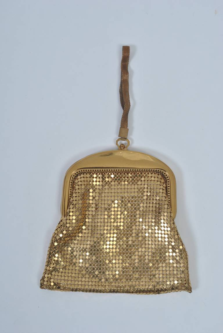 Brown Whiting & Davis Gold Mesh Bag For Sale
