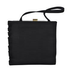 Black Ribbed Evening Bag